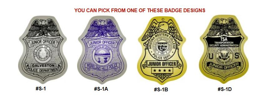 junior officer badge labels and stickers